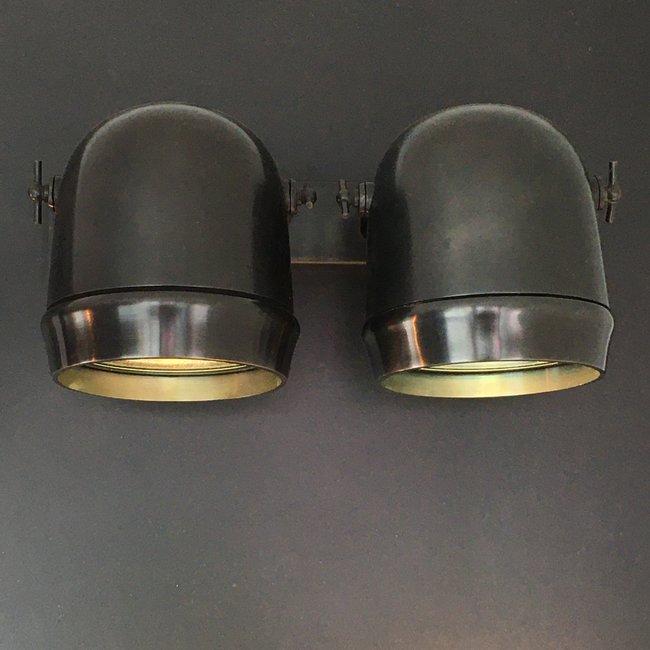 Applique double spot rustique bronze, nickel, chrome