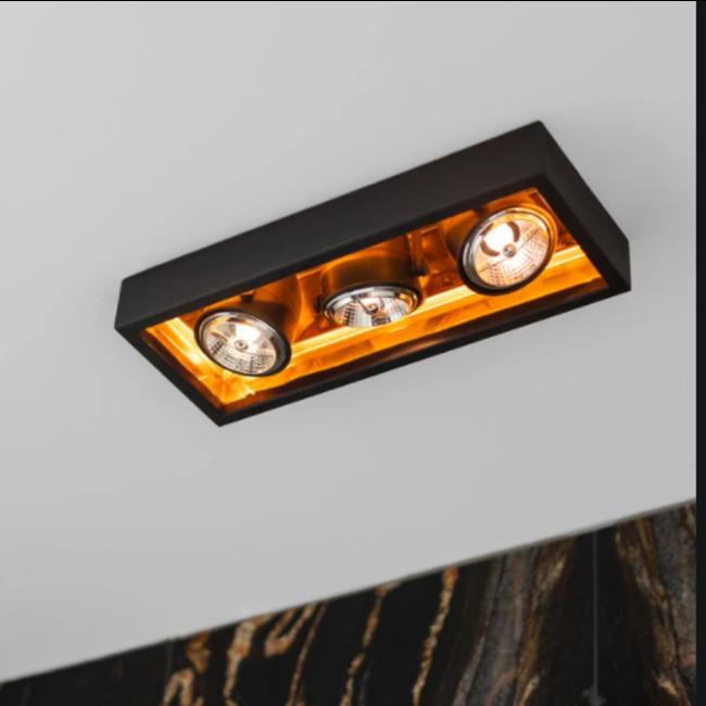Lampe 3 spots rustique bronze, nickel, chrome