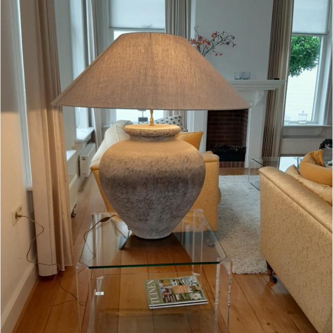 Lampe céramique avec abat-jour en lin 90cm haut