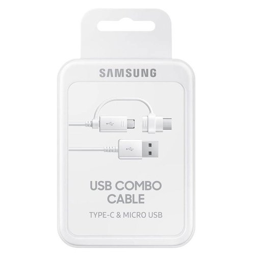 Foneplanet Samsung Duo USB to USB-C / microUSB Adapter Cable 1.5m White EP-DG930DWEGWW
