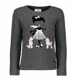 Le Chic Le Chic longsleeve girl with poodles anthracite melange