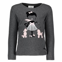 Longsleeve girl with poodles anthracite melange