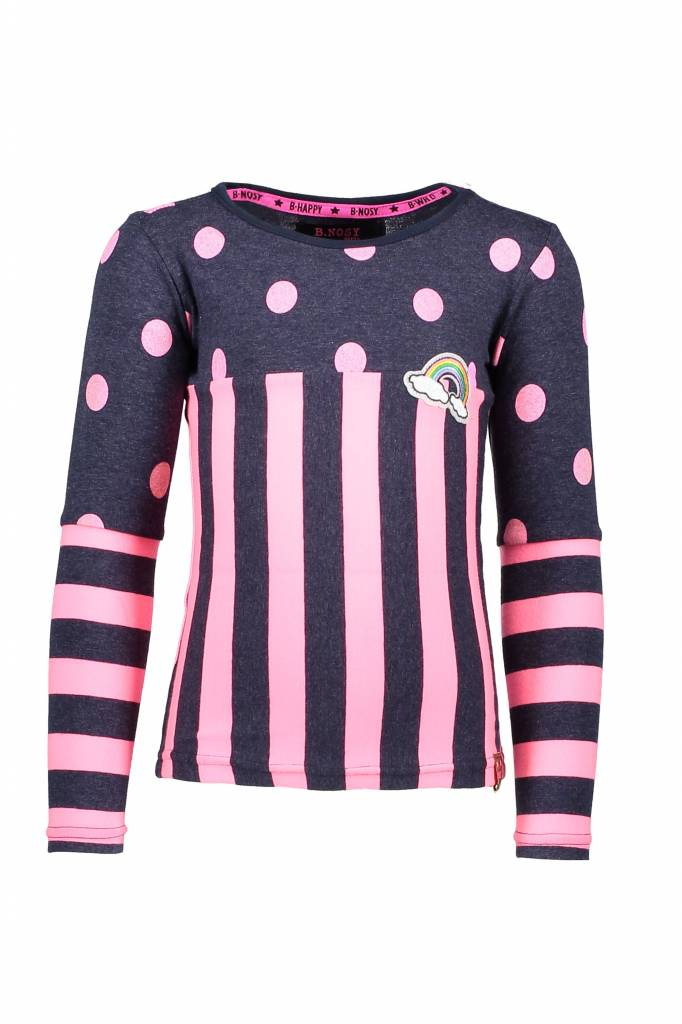 B.Nosy B.Nosy longsleeve with a mix op stripes and dots blue bird melee neon magenta