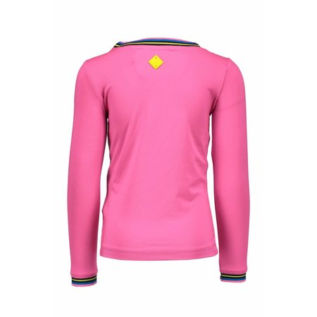 B.Nosy B.Nosy longsleeve with striped rib in neck and cuffs neon magenta