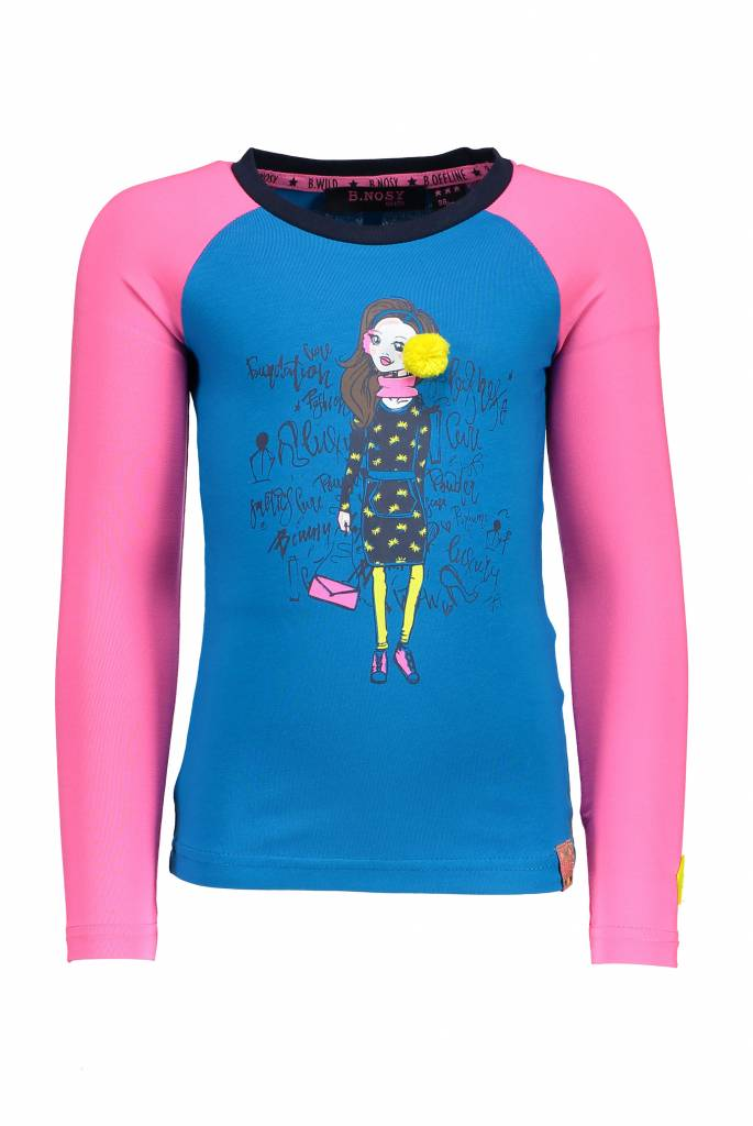 B.Nosy B.Nosy longsleeve with contrast raglan sleeves and knitted tape cyan
