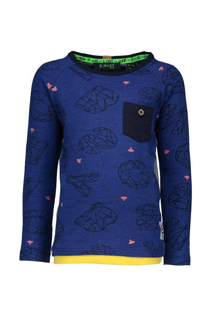 B.Nosy B.Nosy longsleeve raglan with ao front graphic dolphin melee