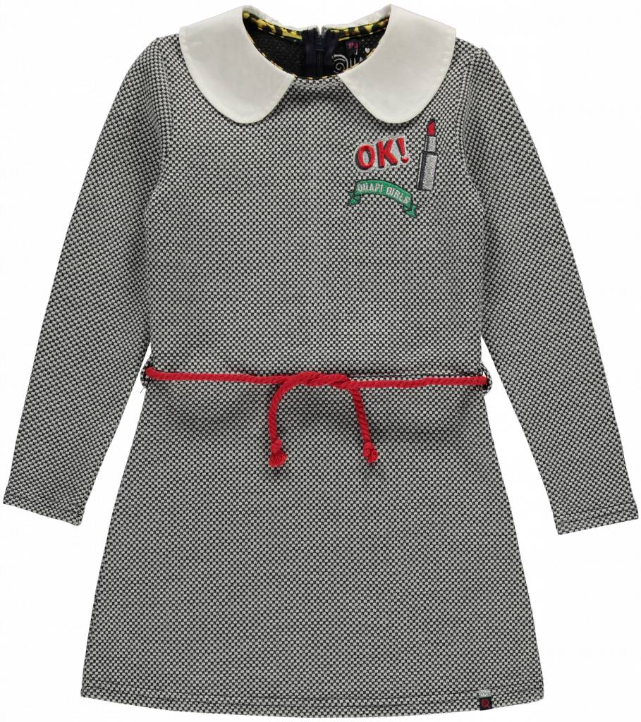 Quapi Quapi jurk Lia dark grey jaquard