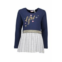 Jurk jersey top + double fabric skirt part navy
