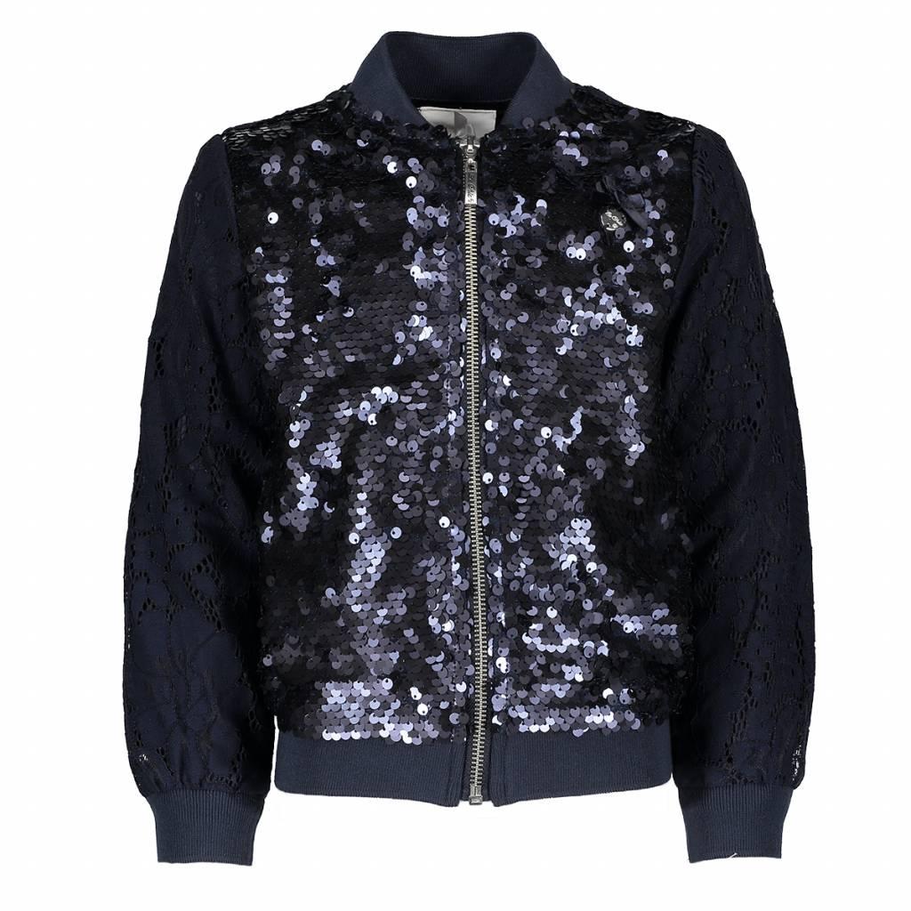 Le Chic Le Chic vest with sequins front blue navy