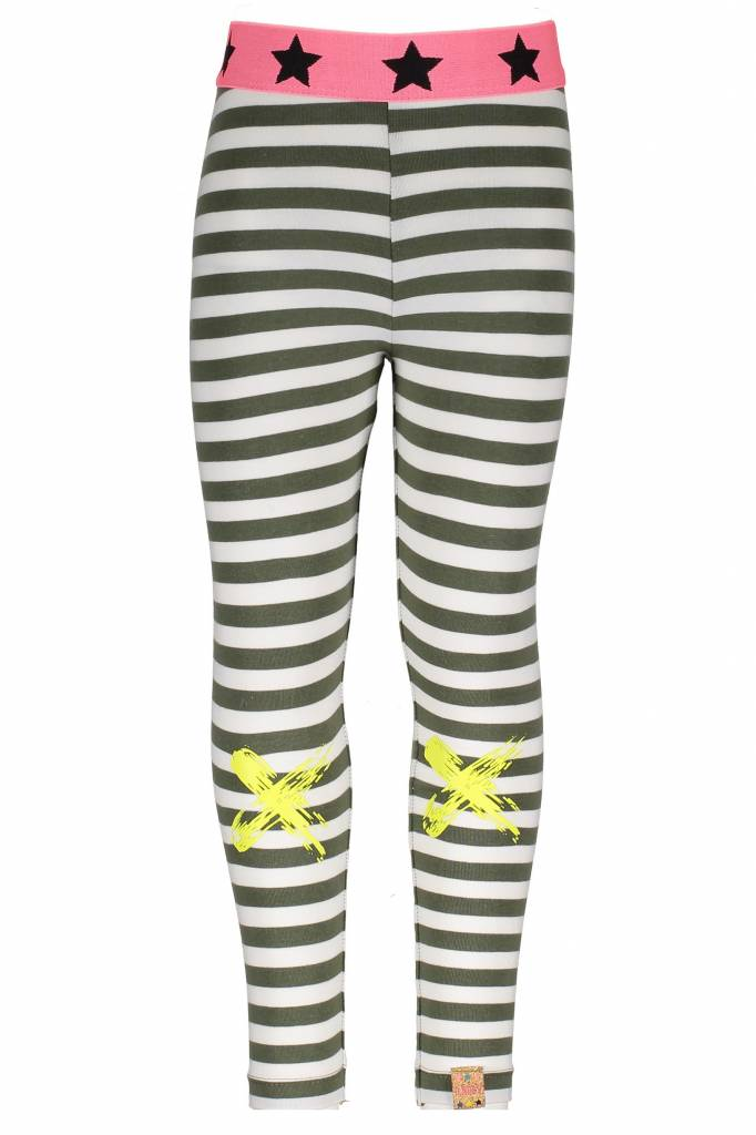 B.Nosy B.Nosy legging with knee print stripe crocodile marshmallow