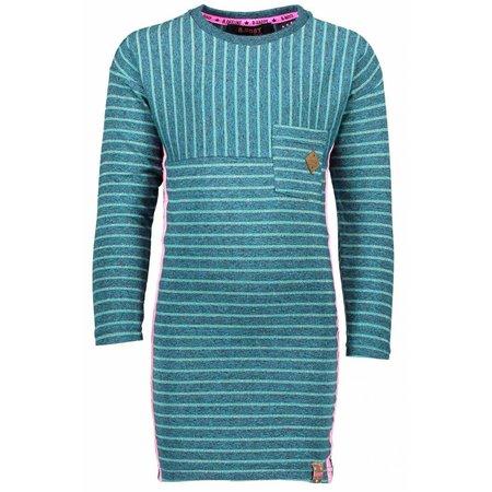 B.Nosy B.Nosy jurk stripes with chest pocket turtle melee aqua sky