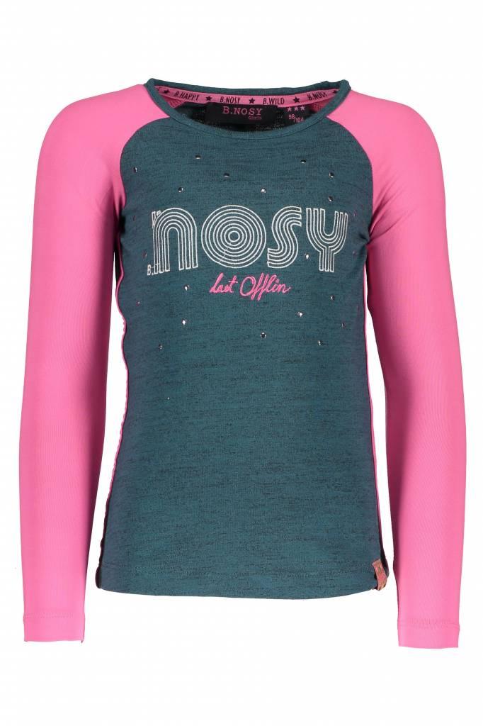 B.Nosy B.Nosy longsleeve with contrast raglan sleeves turtle melee