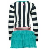 B.Nosy B.Nosy jurk with stripes and dots on top and layered nett skirt stripe peacock sand
