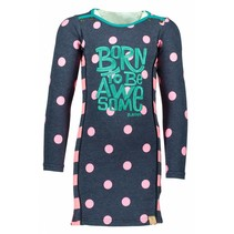 Jurk big dot ao blue bird neon magenta