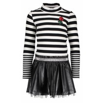 Jurk with rib stripe top and fake leather skirt black