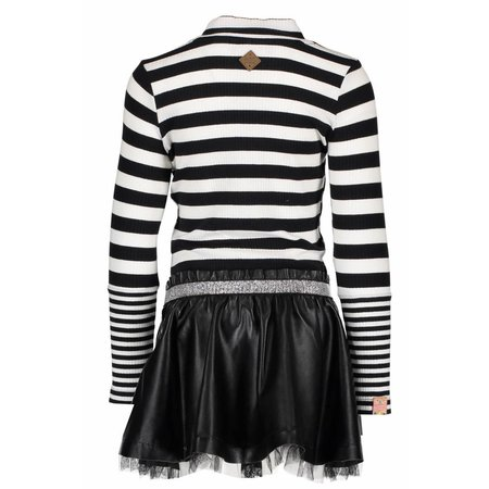 B.Nosy B.Nosy jurk with rib stripe top and fake leather skirt black