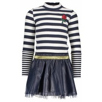 Jurk with rib stripe top and fake leather skirt peacock