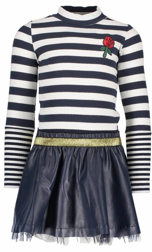 B.Nosy B.Nosy jurk with rib stripe top and fake leather skirt peacock
