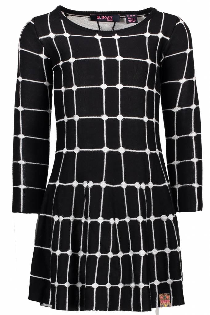 B.Nosy B.Nosy jurk intarsia knitting fence ao black
