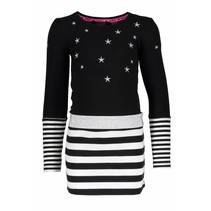 Jurk with stripe skirt black