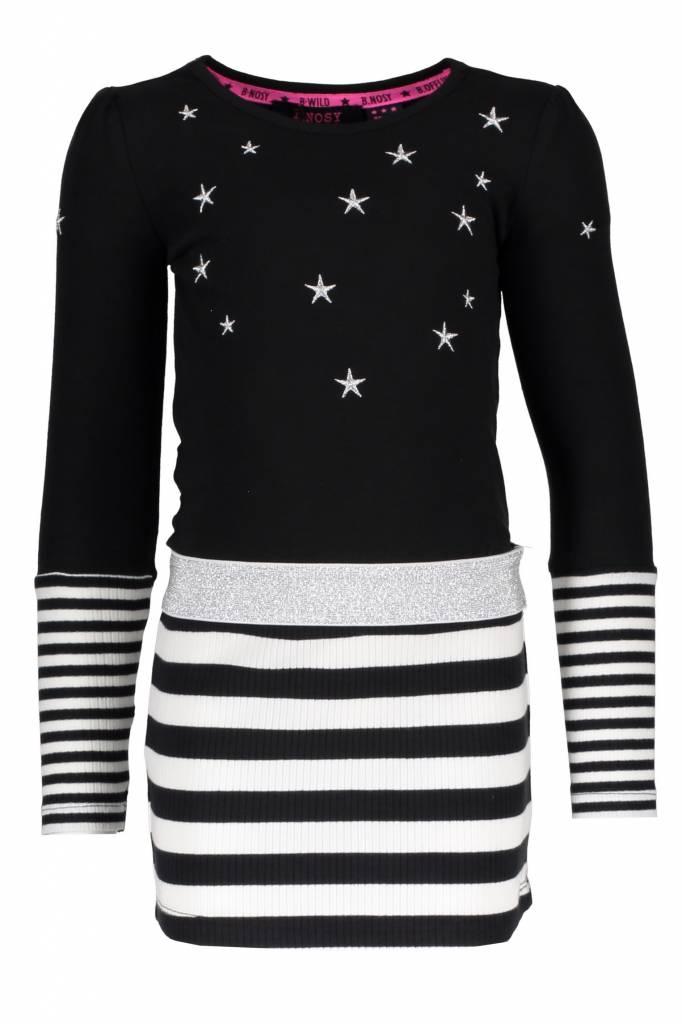 B.Nosy B.Nosy jurk with stripe skirt black