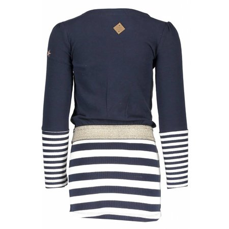 B.Nosy B.Nosy jurk with stripe skirt peacock