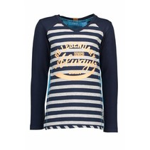 Longsleeve with stripe body midnight blue ecru melee