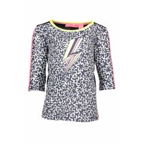 Longsleeve with star print sleeves with tunderstorm print white glitter spots ao midnight blue