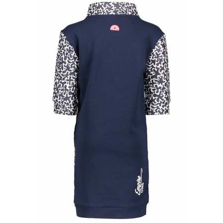 B.Nosy B.Nosy jurk with contrast v-parts, zipper at collar white glitter spots ao midnight blue