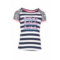 T-shirt raglan stripe with star print sleeves, contrast back panel midnight/white
