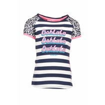 T-shirt raglan stripe with star print sleeves, contrast back panel midnight/white