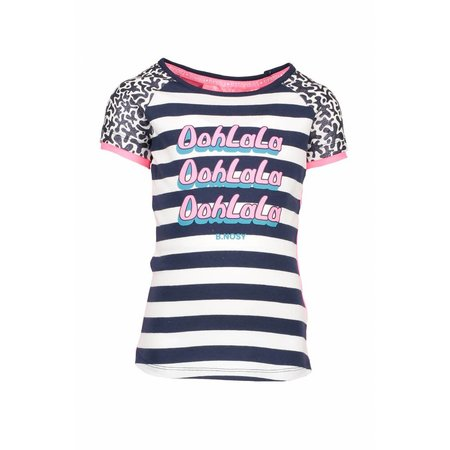 B.Nosy B.Nosy T-shirt raglan stripe with star print sleeves, contrast back panel midnight/white