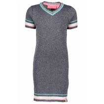 Jurk lurex v-neck knitted midnight blue