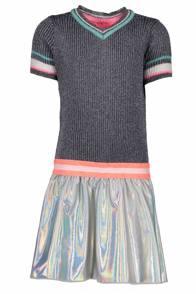 B.Nosy B.Nosy jurk lurex with coated skirt midnight blue