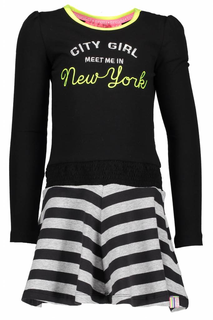 B.Nosy B.Nosy jurk with smocked waistband and lace tape black