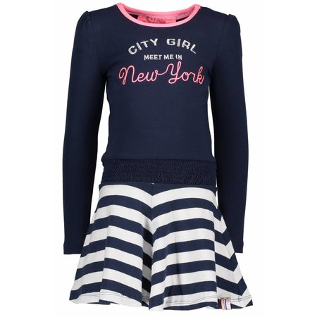 B.Nosy B.Nosy jurk with smocked waistband and lace tape midnight blue