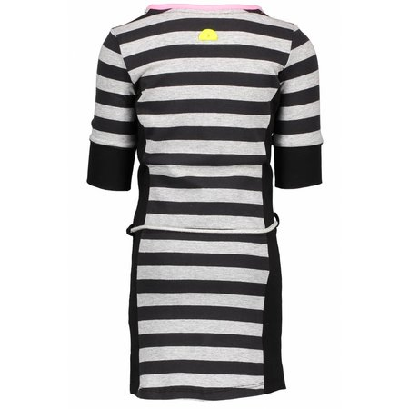 B.Nosy B.Nosy jurk with stripe body, plain side parts, belt on waist grey melee/ black