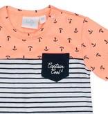 Feetje Feetje T-shirt aop/streep captain cool neon oranje