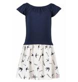B.Nosy B.Nosy jurk with smock part body bird print skirt tropical ao rainbow melee