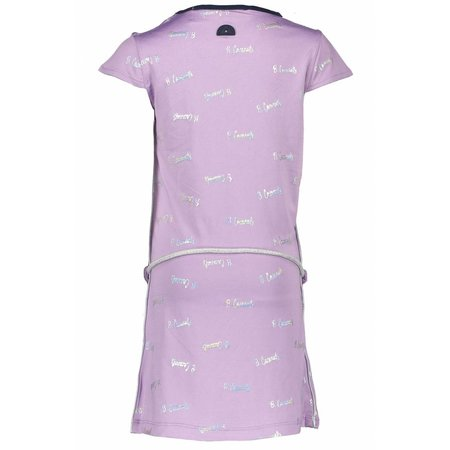 B.Nosy B.Nosy jurk foil print with belt sweet lilac coconuts silver foil ao