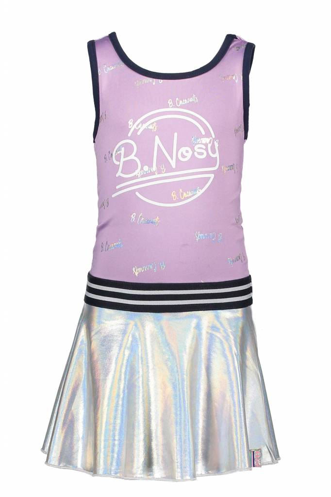 B.Nosy B.Nosy jurk with foil printed top part + coated skirt part sweet lilac