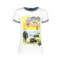 T-shirt safari with rib at neck and sleeves chalk white
