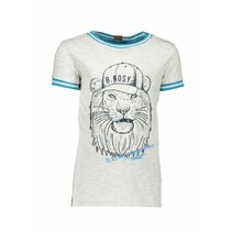 T-shirt lion with rib at neck and sleeves ecru melee