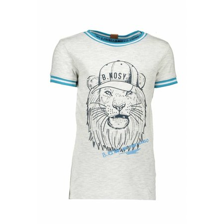 B.Nosy B.Nosy T-shirt lion with rib at neck and sleeves ecru melee
