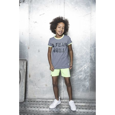 B.Nosy B.Nosy T-shirt fearless with rib at neck and sleeves y/d small stripe m.blue/white