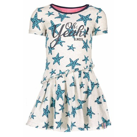 B.Nosy B.Nosy jurk star with slanted skirt part ecru melee panther stars ao hot turquoise