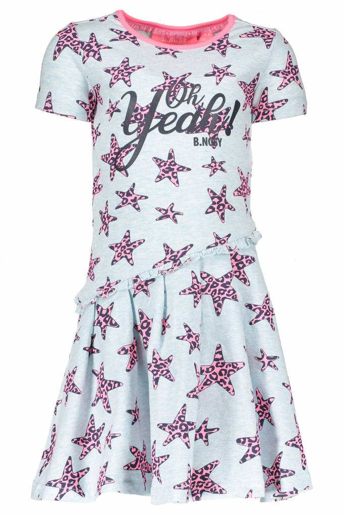 B.Nosy B.Nosy jurk star with slanted skirt part skydelight pink panther stars ao