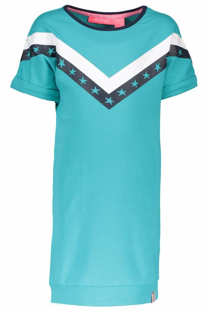 B.Nosy B.Nosy jurk sweat with v-shape print front hot turquoise