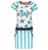 B.Nosy B.Nosy jurk jersey with stripes/stars ecru melee hot turquoise