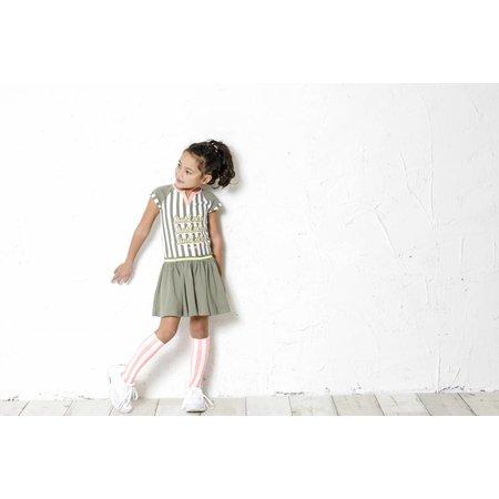 B.Nosy B.Nosy jurk stripe with plain skirt fern green